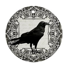 Vintage Halloween Raven Round Ornament (two Sides)