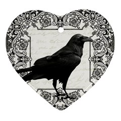 Vintage Halloween Raven Heart Ornament (two Sides)