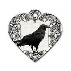 Vintage Halloween Raven Dog Tag Heart (one Side)