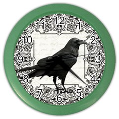 Vintage Halloween Raven Color Wall Clocks