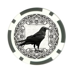 Vintage Halloween Raven Poker Chip Card Guard