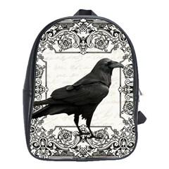 Vintage Halloween Raven School Bag (large)