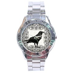 Vintage Halloween Raven Stainless Steel Analogue Watch