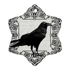 Vintage Halloween Raven Snowflake Ornament (two Sides)