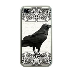 Vintage Halloween Raven Apple Iphone 4 Case (clear)