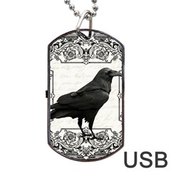 Vintage Halloween Raven Dog Tag Usb Flash (one Side)