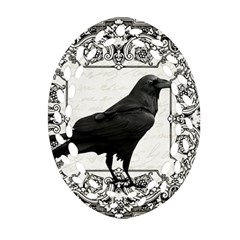 Vintage Halloween Raven Ornament (oval Filigree)
