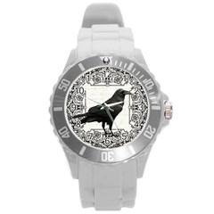 Vintage Halloween Raven Round Plastic Sport Watch (l)