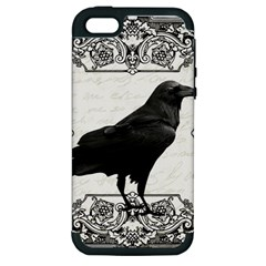 Vintage Halloween Raven Apple Iphone 5 Hardshell Case (pc+silicone)