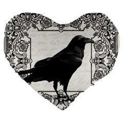 Vintage Halloween Raven Large 19  Premium Heart Shape Cushions