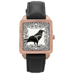 Vintage Halloween Raven Rose Gold Leather Watch