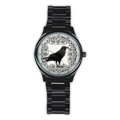 Vintage Halloween Raven Stainless Steel Round Watch