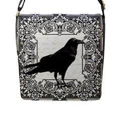 Vintage Halloween Raven Flap Messenger Bag (l)