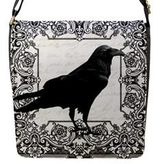 Vintage Halloween Raven Flap Messenger Bag (s)