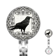 Vintage Halloween Raven Stainless Steel Nurses Watch