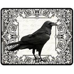 Vintage Halloween Raven Double Sided Fleece Blanket (medium)