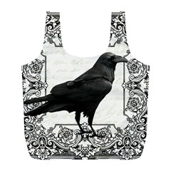 Vintage Halloween Raven Full Print Recycle Bags (l)