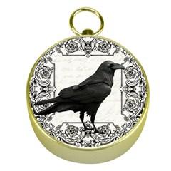 Vintage Halloween Raven Gold Compasses