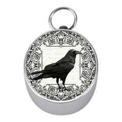 Vintage Halloween Raven Mini Silver Compasses