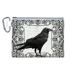 Vintage Halloween Raven Canvas Cosmetic Bag (l)