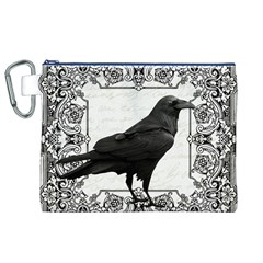 Vintage Halloween Raven Canvas Cosmetic Bag (xl)