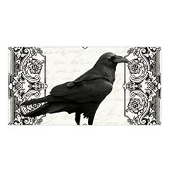 Vintage Halloween Raven Satin Shawl