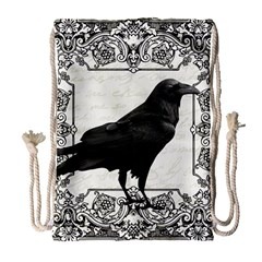 Vintage Halloween Raven Drawstring Bag (large)