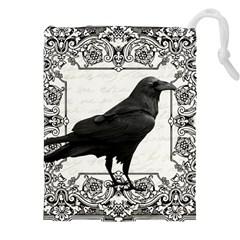 Vintage Halloween Raven Drawstring Pouches (xxl)