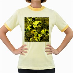 Amazing Glowing Flowers 2c Women s Fitted Ringer T Shirts