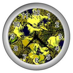 Amazing Glowing Flowers 2c Wall Clocks (silver)