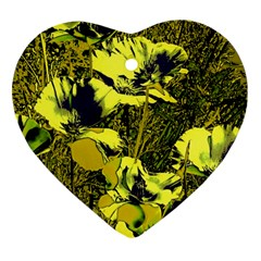 Amazing Glowing Flowers 2c Heart Ornament (two Sides)