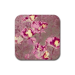 Amazing Glowing Flowers 2b Rubber Coaster (square)