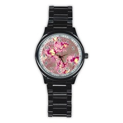 Amazing Glowing Flowers 2b Stainless Steel Round Watch