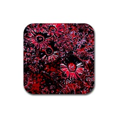 Amazing Glowing Flowers C Rubber Square Coaster (4 Pack)