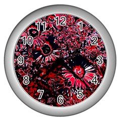 Amazing Glowing Flowers C Wall Clocks (silver)