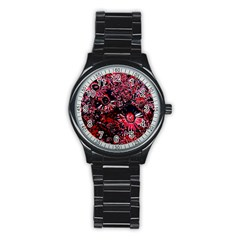 Amazing Glowing Flowers C Stainless Steel Round Watch