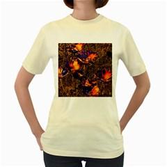 Amazing Glowing Flowers 2a Women s Yellow T Shirt