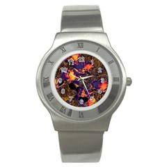 Amazing Glowing Flowers 2a Stainless Steel Watch