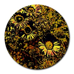 Amazing Neon Flowers B Round Mousepads