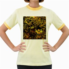 Amazing Neon Flowers B Women s Fitted Ringer T Shirts