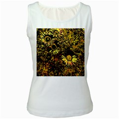 Amazing Neon Flowers B Women s White Tank Top