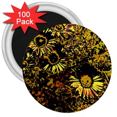 Amazing Neon Flowers B 3  Magnets (100 Pack)