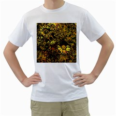 Amazing Neon Flowers B Men s T Shirt (white) (two Sided)