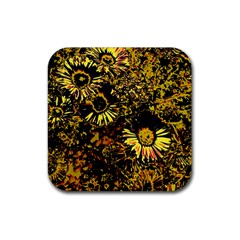 Amazing Neon Flowers B Rubber Coaster (square)