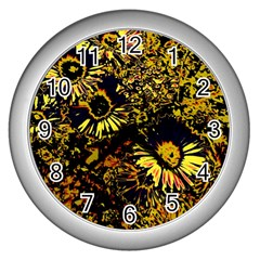 Amazing Neon Flowers B Wall Clocks (silver)