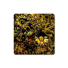 Amazing Neon Flowers B Square Magnet