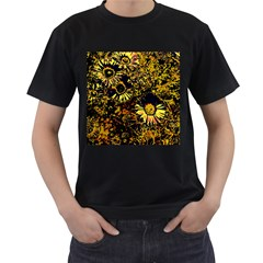 Amazing Neon Flowers B Men s T Shirt (black) (two Sided)