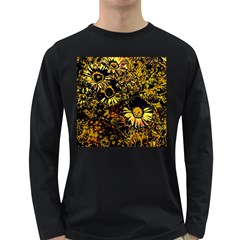 Amazing Neon Flowers B Long Sleeve Dark T Shirts