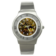 Amazing Neon Flowers B Stainless Steel Watch