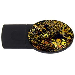 Amazing Neon Flowers B Usb Flash Drive Oval (4 Gb)